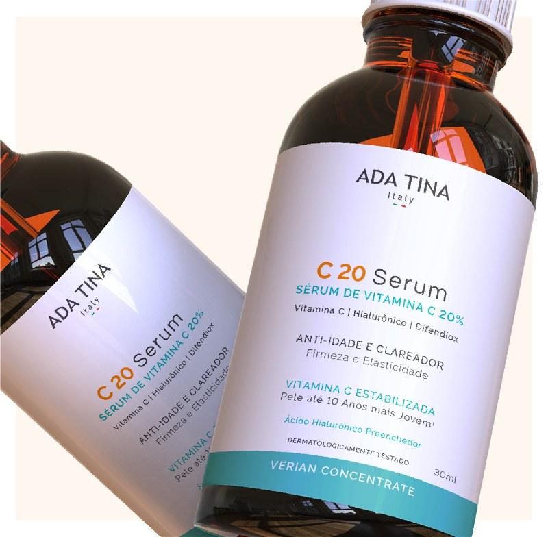 Imagem em destaque de dois frascos do C 20 Serum da Ada Tina Italy